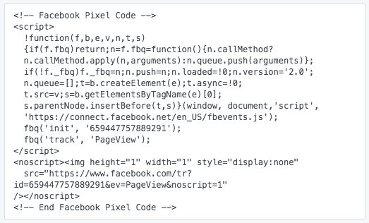 facebook pixel code for retargeting or remarketing ads