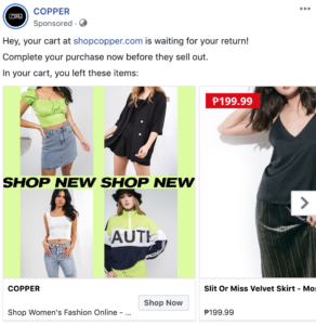 facebook ad for Copper