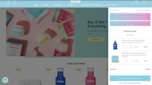 bliss ecommerce website