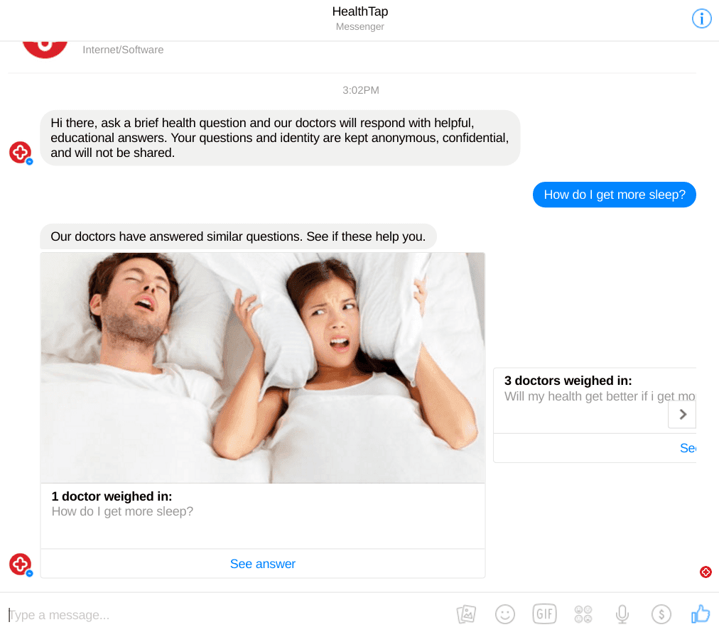 HealthTap Chatbot Feature Screenshot