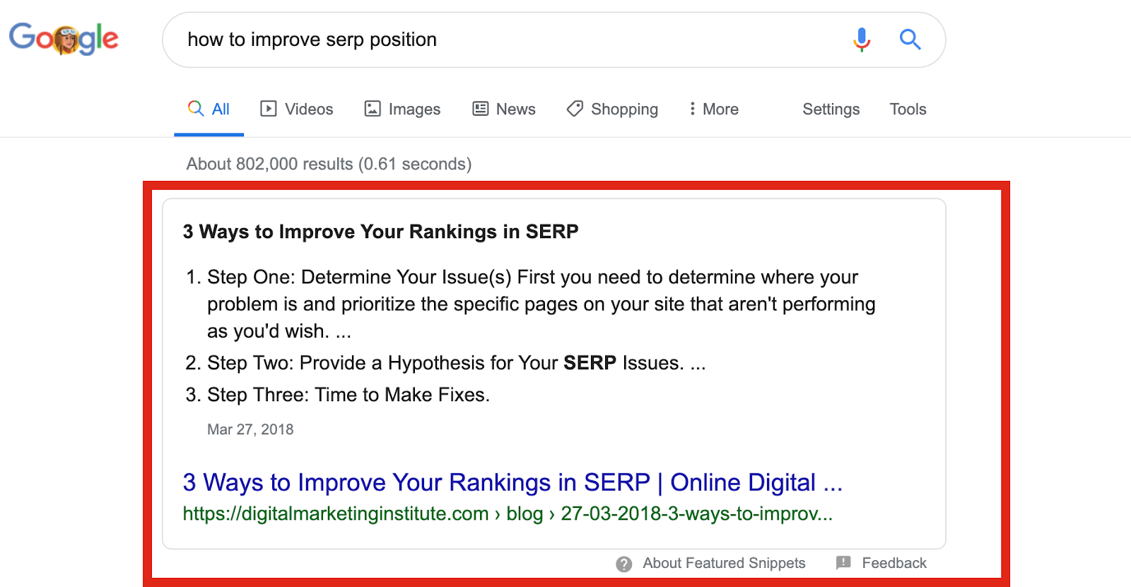 Improve your SERP position Google Featured Snipped Screenshot
