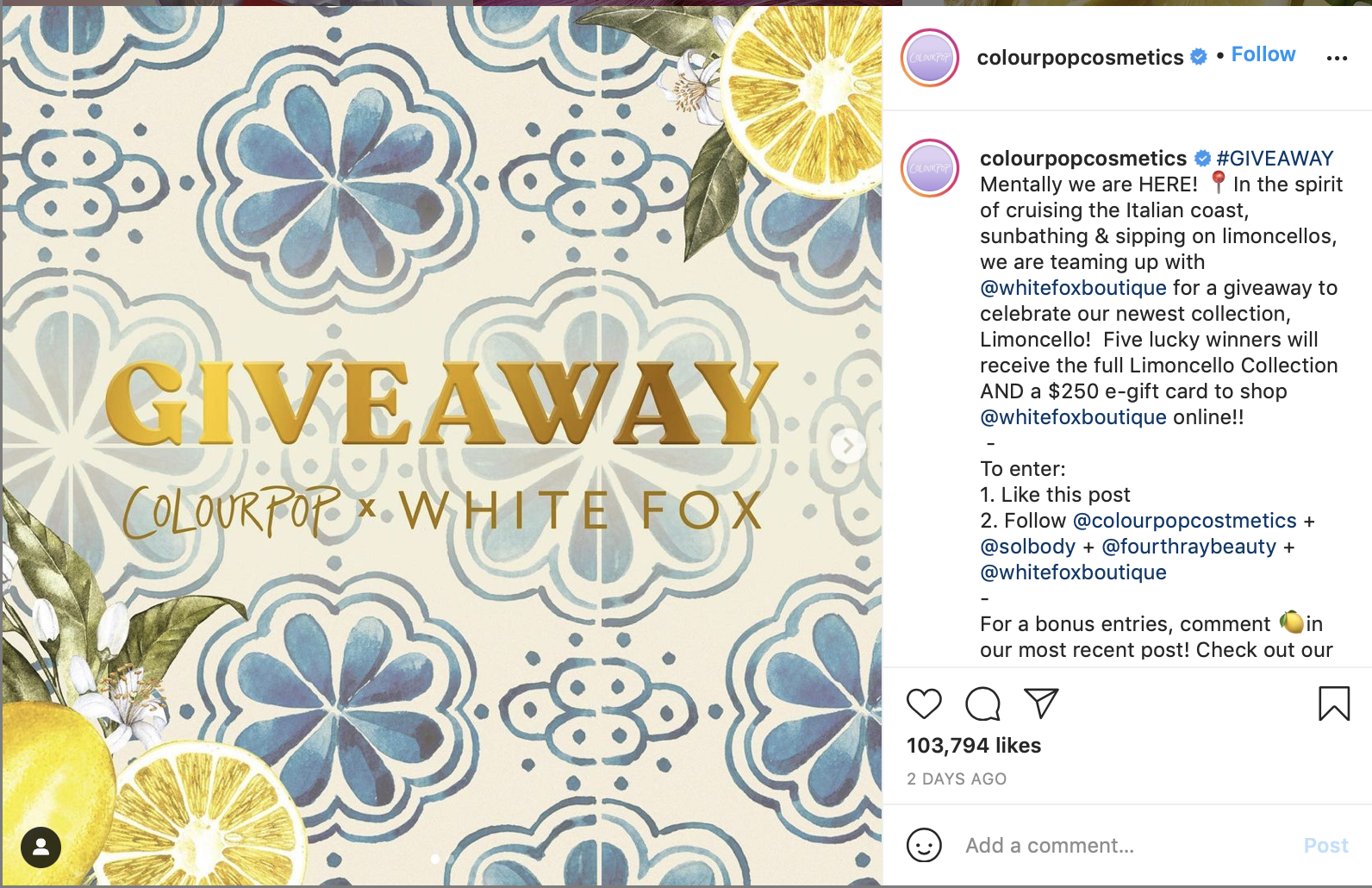 Colourpop Content Giveaway