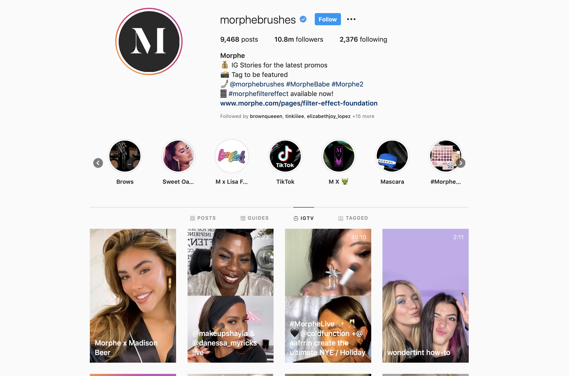 Morphe Instagram Account